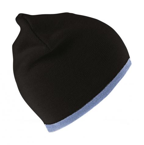 Czapka dziergana pod haft, czarna, błękitna