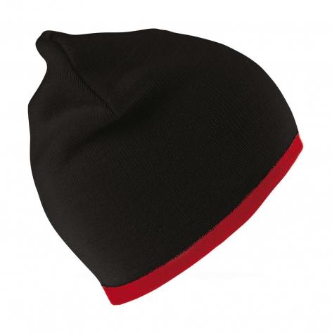 Czapka dziergana pod haft, czarna, czerwona