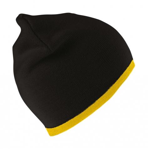 Czapka dziergana pod haft, czarna, zolta