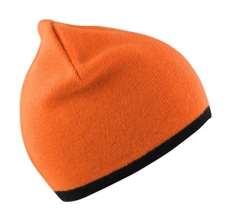 Czapka dziergana pod haft, pomarańczowa, czarna