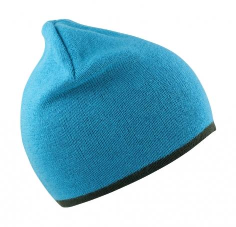 Czapka dziergana pod haft, niebieska, turkusowa, szara