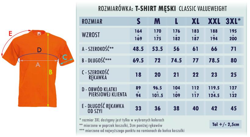 Rozmiarówka - Tshirt Valueweight